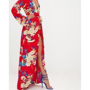 ca64b472d42 PrettyLittleThing Dresses - NWT Red Floral Print Kimono Maxi Dress
